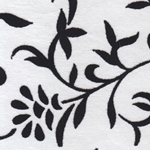 Printed Cotton Paper from India- Black Flocked Floral on White 22x30 Inch Sheet