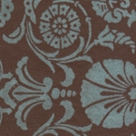 Printed Cotton Paper from India- Blue Flocked Florentine on Brown 22x30 Inch Sheet