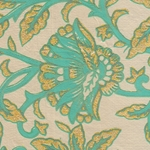 Printed Cotton Paper from India- Blue & Gold Floral on Cream 22x30 Inch Sheet