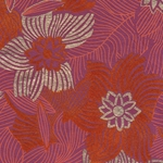 Printed Cotton Paper from India- Red, Orange, & Gold Floral on Magenta 22x30 Inch Sheet