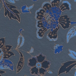 Printed Cotton Paper from India- Deep Blue and Gold Floral on Blue 22x30 Inch Sheet