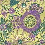 Printed Cotton Paper from India- Flower Power! Lavender & Green 22x30 Inch Sheet