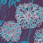 Printed Cotton Paper from India-  Majestic Purple Peonies 22x30 Inch Sheet