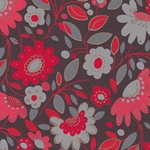 "Printed Cotton Paper from India- Flowers and Leaves Print in Reds & Grays 20x30"" Sheet"