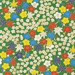 "Bright Green with Multi Color Flowers & Leaves - 19""x25.5"" Sheet"