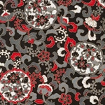 "Black, Red, White, Gold, and Gray Flowers & Vines - 25""x19.5"" Sheet"