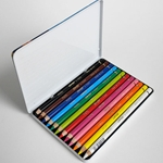 Conte Pastel Pencil Sets - 12 Assorted Colors in a Tin Box