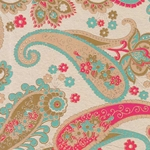 Printed Cotton Paper from India- Red/Turquoise Paisley on Tan 22x30 Inch Sheet