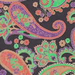 Printed Cotton Paper from India- Purple/Green/Orange Paisley on Black 22x30 Inch Sheet
