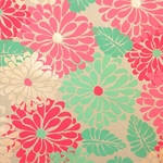 Printed Cotton Paper from India- Flowers in Gold/Pink/Red on Tan Paper 22x30 Inch Sheet