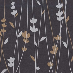 Thai Screenprinted Unryu- Meadow Flowers Gold/Silver on Black