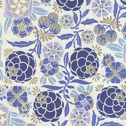 "Rossi Decorated Papers from Italy - Liberty Flowers Blue  28""x40"" Sheet"