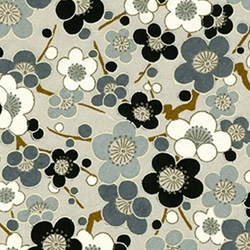Japanese Chiyogami Paper - Black, Grey, White Cherry Blossoms on Grey