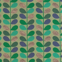 "Beanstalk Printed Paper from India- Green, Blue, Turquoise & Gold on Green 22x30"" Sheet"