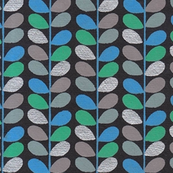 "Beanstalk Printed Paper from India- Blue, Green, Gray, & Silver on Black 22x30"" Sheet"
