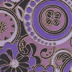 "India Screen Printed Papers - Funkadelic Floral Paper- Purple, Lavender, Rose, & Gold on Black 22""x30"" Sheet"