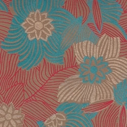 Printed Cotton Paper from India- Red, Blue, & Gold Floral on Brown 22x30 Inch Sheet