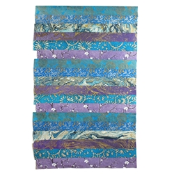 "Nepalese Striped Collage Paper- Purple and Blue Print Collage 20x30"" Sheet"