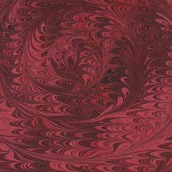 Nepalese Marbled Paper- Center Swirl Black on Red Paper