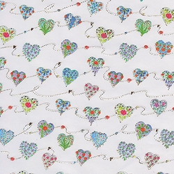 "Holiday Paper & Wrap - Ornament Hearts on White 20""x27"" Sheet"