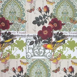 Rossi Decorative Paper from Italy- Birds and Tea Roses 28x40 Inch Sheet