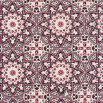 "Circular Moroccan Print from Nepal- Black and Pink on Natural 20x30"" Sheet"