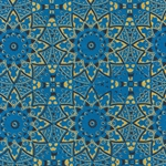 "Circular Moroccan Print from Nepal- Black and Metallic Gold on Blue 20x30"" Sheet"
