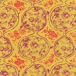 "Nepalese Printed Paper- Organic Flower Pods in Magenta & Orange on Yellow 20x30"" Sheet"