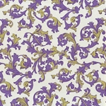 "Rossi Decorated Papers from Italy - Purple & Gold Florentine 28""x40"" Sheet"