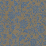 "Chinese Brocade Paper- Blue Floral on Copper 26x16.75"" Sheet"