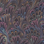 "Petite Metallic Plumes Gold/Green/Pink/Blue on Black 22x30"" Sheet"