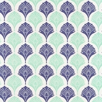Rossi Italian Letterpress Paper- Blue Palm Leaves