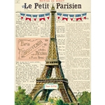 "Cavallini Decorative Paper - Vintage Eiffel Tower  20""x28"" Sheet"
