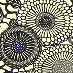 Japanese Chiyogami Paper - Black, Blue, and Cream Circular Flowers
