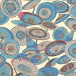 Japanese Chiyogami Paper - Blue, Gray, Pink Umbrellas on Green