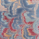 "Marbled Paper from India- Mixed Berry Blue Fans 22x30"" Sheet"