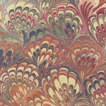 "Marbled Paper from India - Victorian Feather & Fan 22""x30"" Sheet"