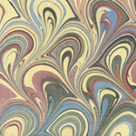 "Marbled Paper from India- Wildflower Fans 22x30"" Sheet"
