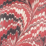 "Marbled Paper from India- Red, Black, and White Feathers 22x30"" Sheet"