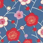Japanese Chiyogami Paper- Red, White, and Pink Cherry Blossoms On Blue