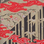Japanese Chiyogami Paper- Red, Black, and Gold Bamboo Forest