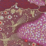 Japanese Chiyogami Paper- Gold Cranes on Purple Clouds