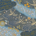 Japanese Chiyogami Paper- Gold Cranes on Teal Blue Clouds