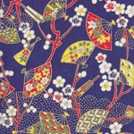 Japanese Chiyogami Paper- Cherry Blossom Branches and Fans on Indigo
