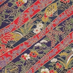 "Japanese Chiyogami Paper- Decorative Red & Indigo Ribbons 18x25"" Sheet"