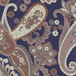 Printed Cotton Paper from India- Paisley Tan/Gray on Navy 22x30 Inch Sheet