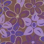 Printed Cotton Paper from India- Lavender, Purple, & Gold Flowers on Brown 22x30 Inch Sheet