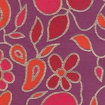 "Flower and Vine Screenprinted Paper - Pink/Orange/Red on Magenta 22""x30"" Sheet"