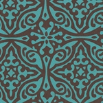Printed Cotton Paper from India- Morroccan Print in Blue on Brown 22x30 Inch Sheet