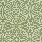 Printed Cotton Paper from India- Morroccan Print in Cream on Green 22x30 Inch Sheet